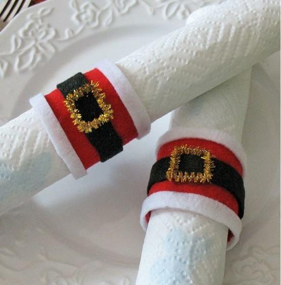 weihnachtsmann gürtel serviettenringe selber machen