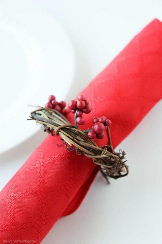 wein rote beeren serviettenringe weihnachtsdeko