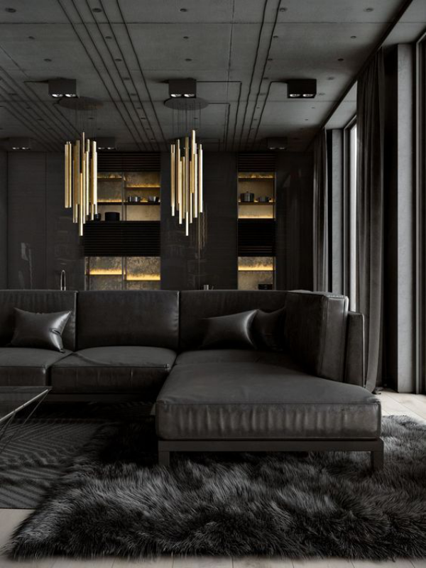 Aktuelle Farbpaletten im Wohnzimmer 2020 Grau rätselhaft mysteriös goldene Akzente Hängelampen