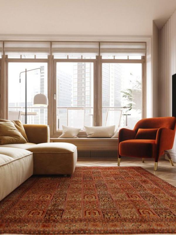 Aktuelle Farbpaletten im Wohnzimmer 2020 sonniger Raum