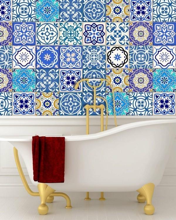Fliesenaufkleber Badezimmer Fliesenwand Muster blau