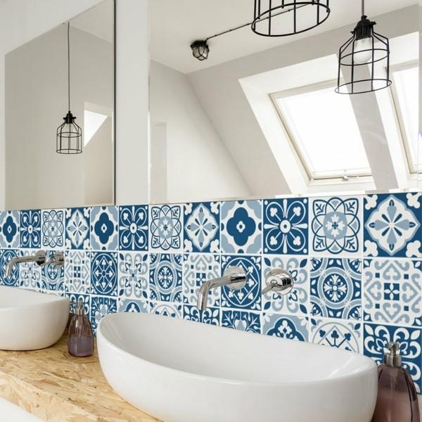 Fliesenaufkleber Badezimmer Waschbecken Rückwand blau Muster