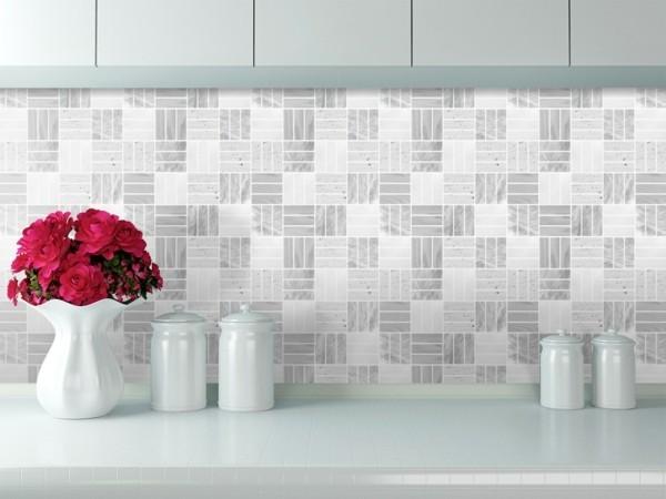 Fliesenaufkleber Küchenrückwand Fliesen grau Muster