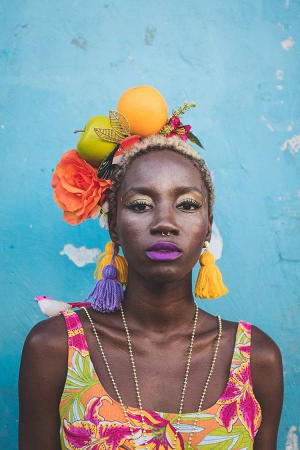 Früchte am Kopf Haarschmuck Ideen