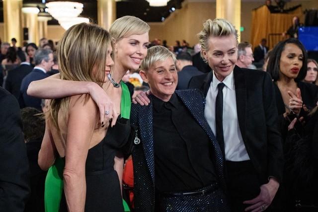 Golden Globe Awards 2020 Ellen DeGeneres Portia de Rossi Jennifer Aniston Charlize Theron