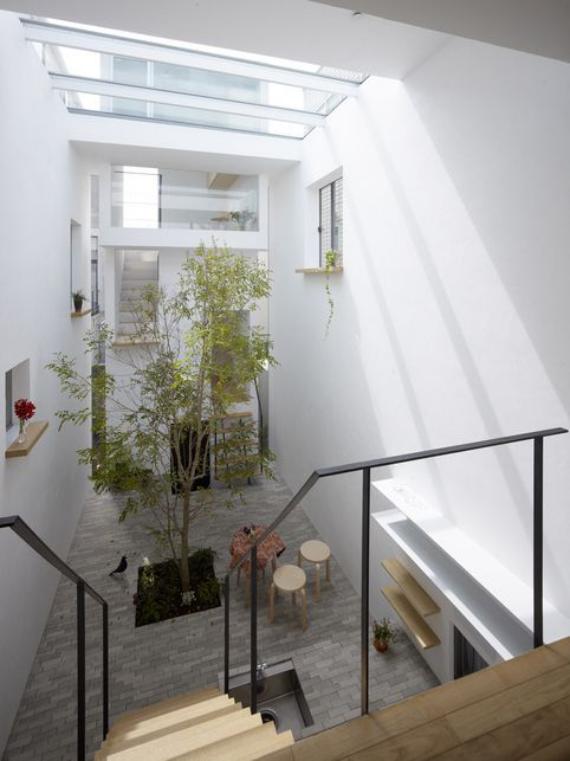 Innenhof stilvoll gestalten Minimalismus auf japanischer Art ein Baum im Flur minimalistisches Design