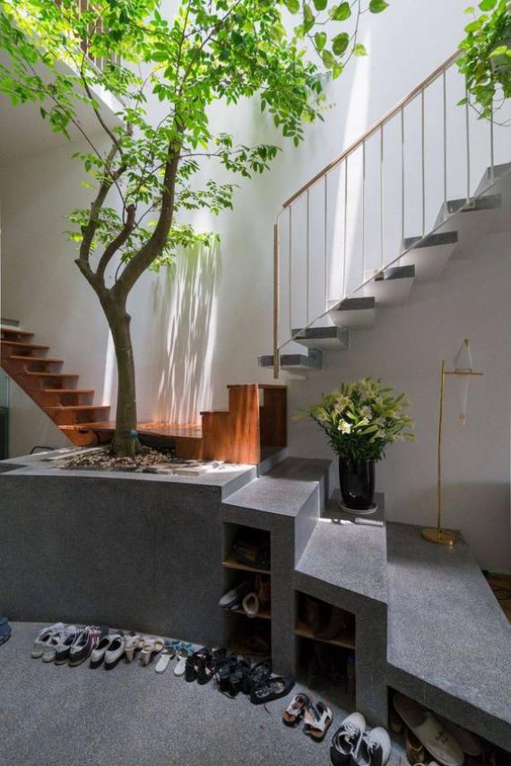 Innenhof stilvoll gestalten einfaches Design aber sehr ansprechend Minimalismus auf japanischer Art