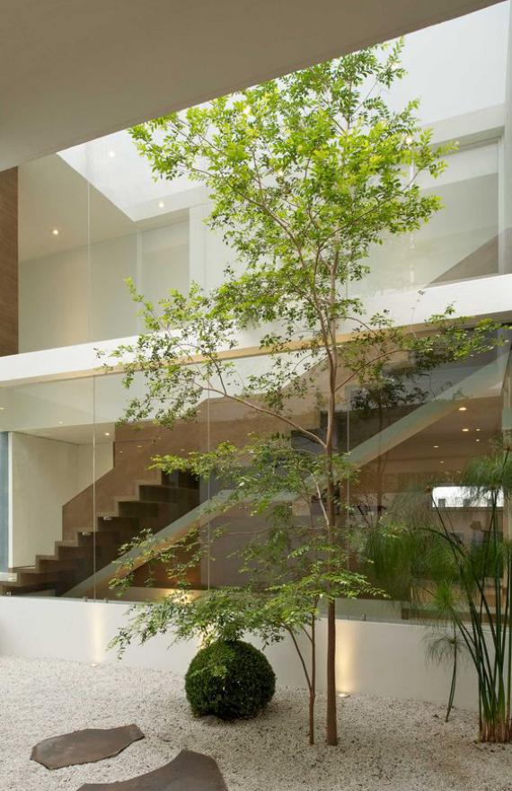 Innenhof stilvoll gestalten im japanischen Stil ein Baum Kies weiße Steine
