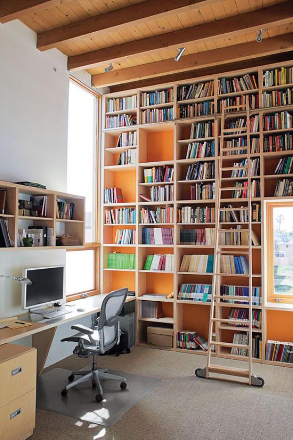 Moderne Hausbibliothek Home Office kreative Atmosphäre viel Licht