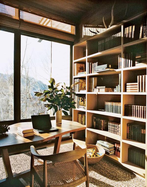 Moderne Hausbibliothek in warmen Holzfarbtönen viel natürliches Licht