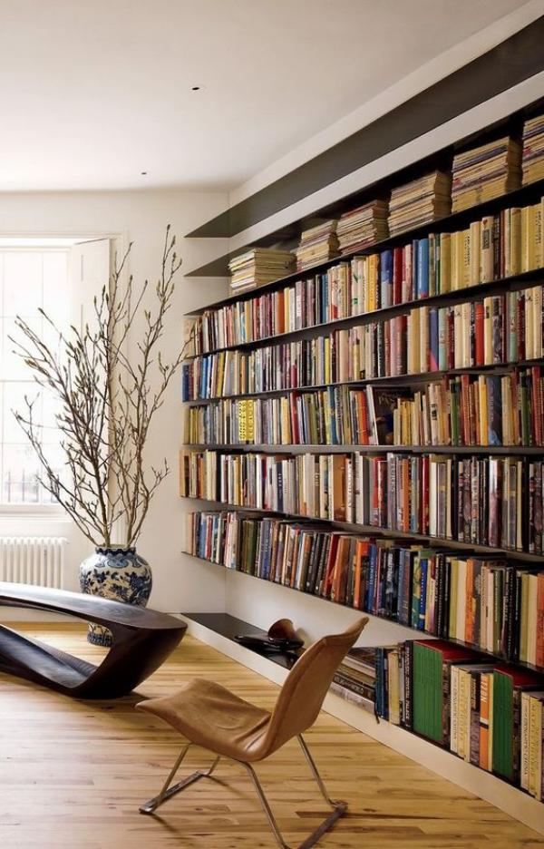 Moderne Hausbibliothek schickes Design hoher ästhetischer Wert Gemütlichkeit pur