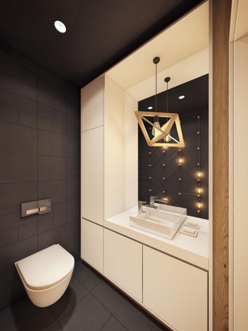 Modernes Licht im Bad kontrastreiches Raumdesign Designerhängeleuchte Spiegel
