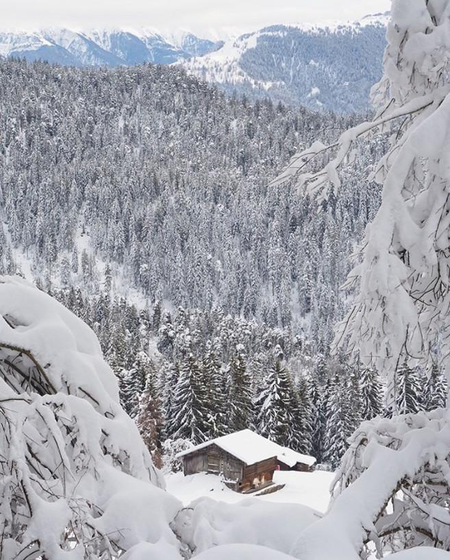 Winterwunderland viel Schnee schweizerisches Skigebiet Laax