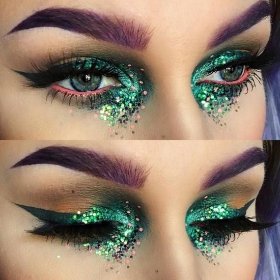 augen schminken zum karneval grün