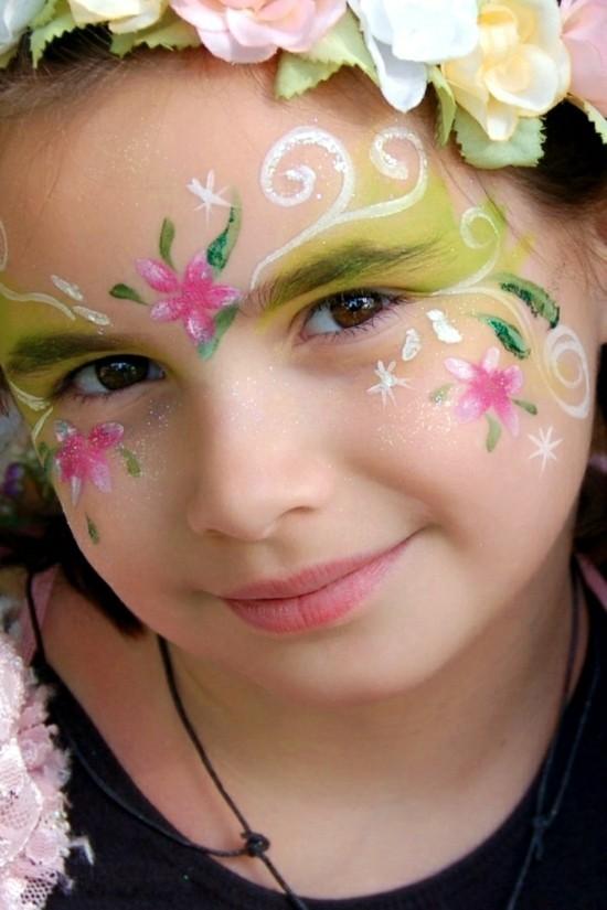 blumen schminkideen kinder schminken zum karneval
