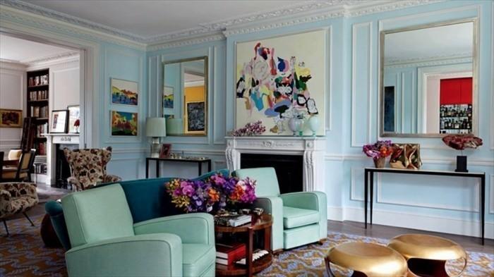 eklektische wohnzimmereinrichtung blautöne