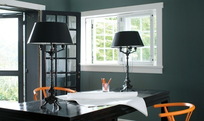home office dunkelgrüne wände