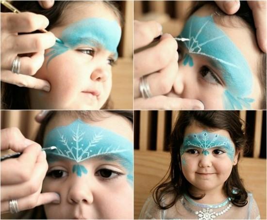 kinder schminkideen zum karneval schneekönigin