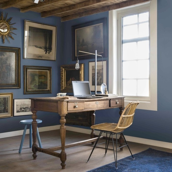 kolonialstil arbeitszimmer wandfarben blautöne