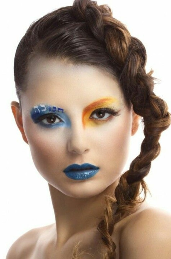 make up fasching schminkideen orange und blau