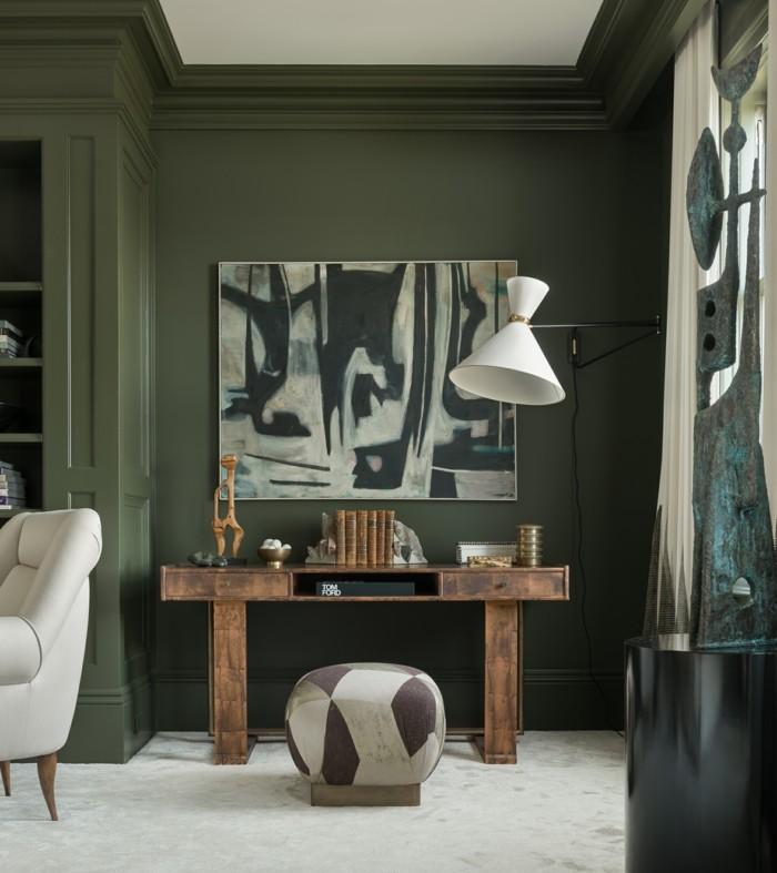 navy green gedeckte wandfarbe wohnzimmer