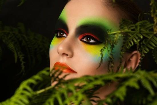 neonfarben augen schminken zu fasching