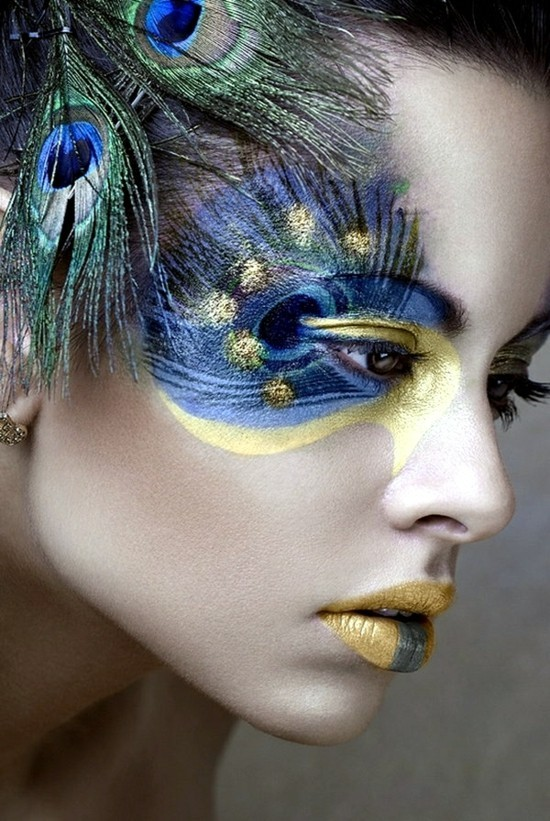 pfau schminken make up ideen zum fasching