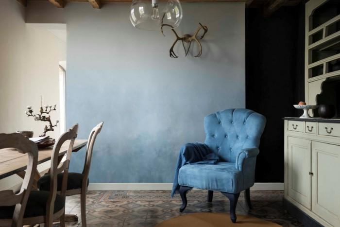 rustikales esszimmer einrichten blautöne