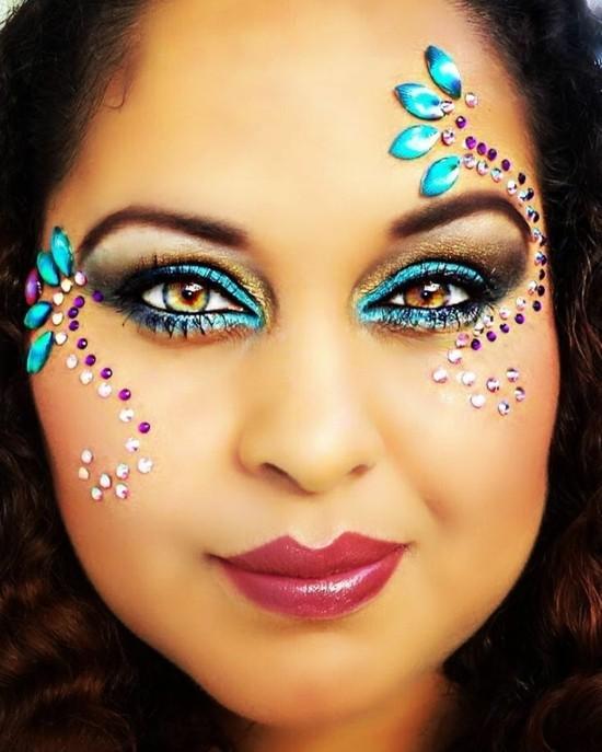 schminkideen frauen zum karneval strasssteine