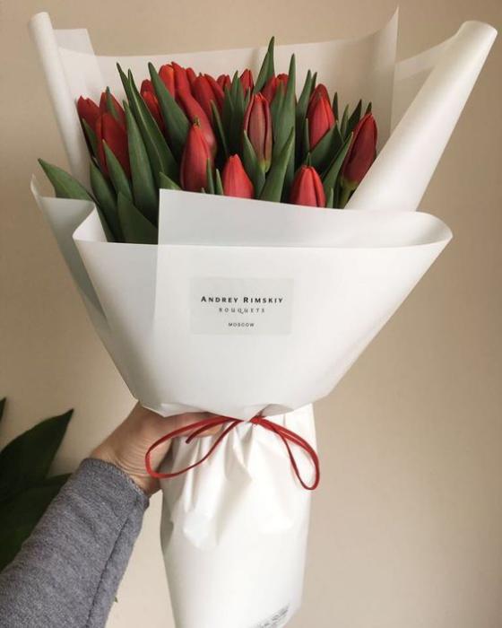 Blumen zum Valentinstag rote Tulpen Bouquet stehen für tiefe Zuneigung