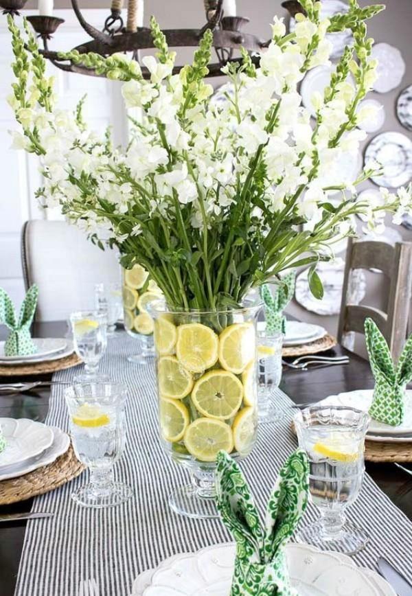 Frühlingsdeko im Glas - Glas mit Zitronen