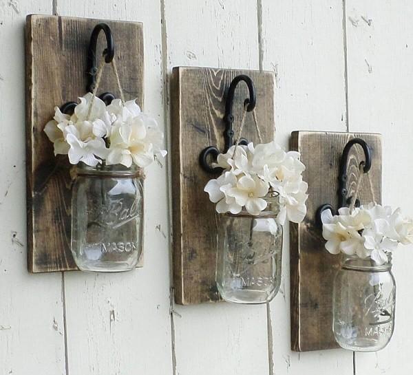 Frühlingsdeko im Glas Wandideen weiße Farben
