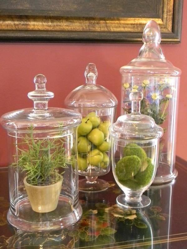 Frühlingsdeko im Glas - grüne Tischgestaltung DIY Deko