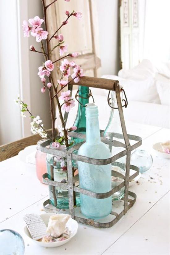 Frühlingsdeko mit Kirschblüten im Glas rustikales Flair viel natürliche Frische