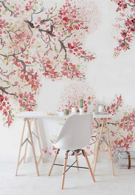 Frühlingsdeko mit Kirschblüten schöne Wandtapete bringt fröhliche Stimmung mit