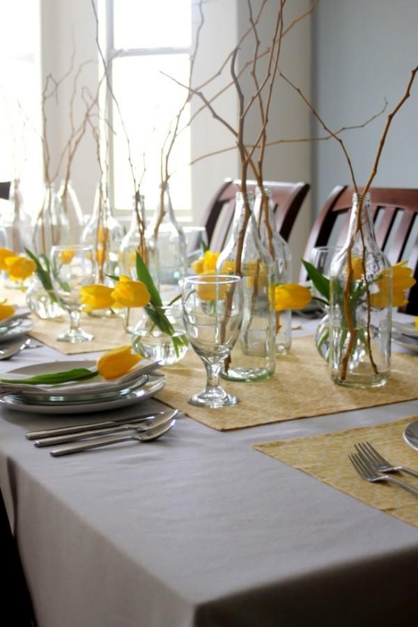 Gelbe Pflanzen - Tischgestaltung - Frühlingsdeko im Glas
