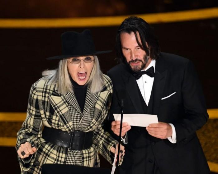 Oscars 2020 keanu Reeves Diane Keaton auf der Bühne gemeinsame Präsentation