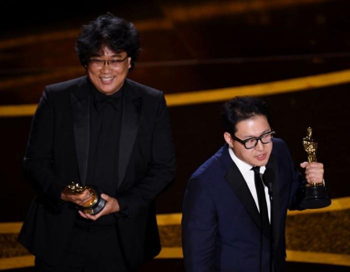 Oscars 2020 südkoreanische Autoren Regisseur Bong Joon-ho Drehbuchautor Han Jin-won