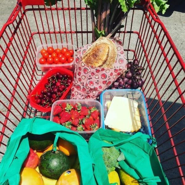 Plastikfrei einkaufen Beutel Baumwolle Lebensmittel Einkaufswagen