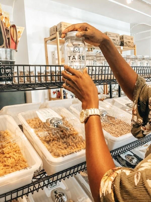Plastikfrei einkaufen Beutel Laden unverpackte Lebensmittel