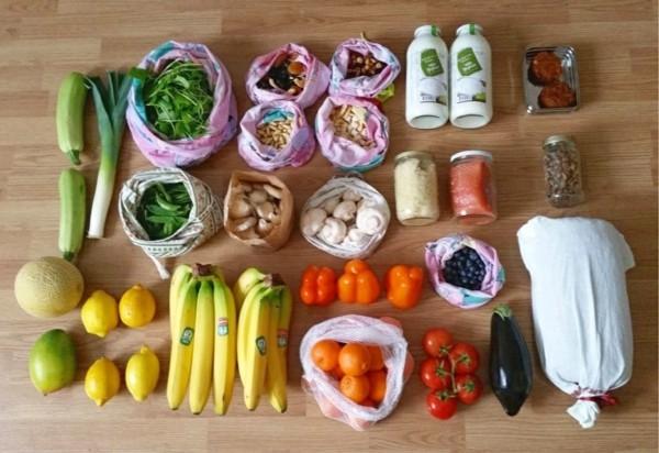 Plastikfrei einkaufen wiederverwendbare Beutel Nahrungsmittel