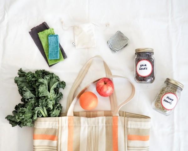 Plastikfrei einkaufen wiederverwendbare Beutel Zero Waste