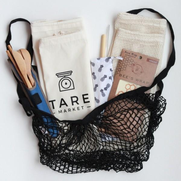 Plastikfrei einkaufen wiederverwendbare Stofftüten Baumwolle Netz