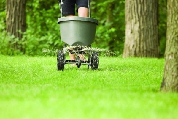 Rasen düngen - Mensch, der arbeitet