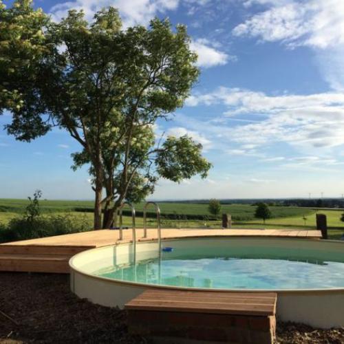 Runde Gartenpools im Frühjahr rundes Plansch-und Schwimmbecken im Freien installieren