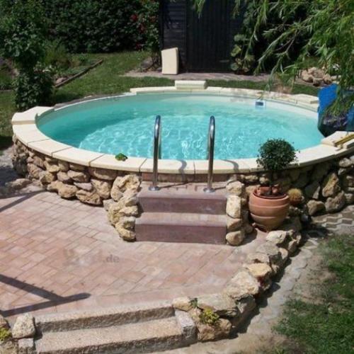 Runde Gartenpools modernes Schwimmbecken Treppe Verkleidung aus Naturstein