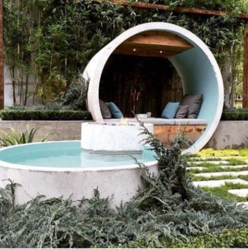 Runde Gartenpools perfekte Form Sitzecke auch in gleicher Form