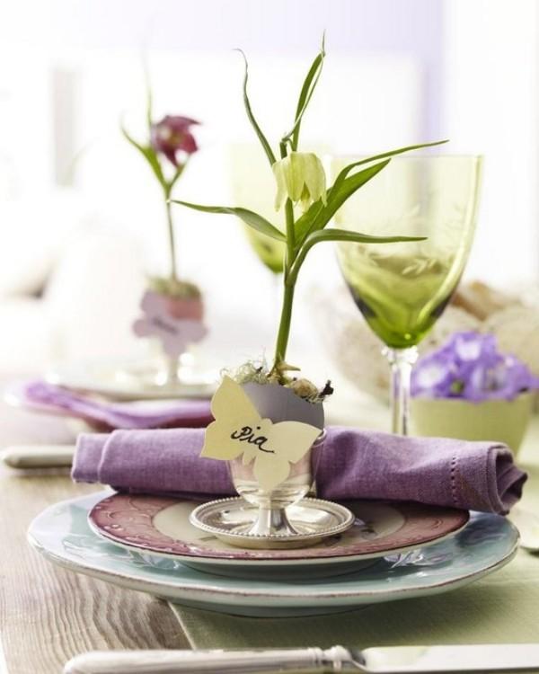 Servietten Falten - Frühlingsdeko im Glas
