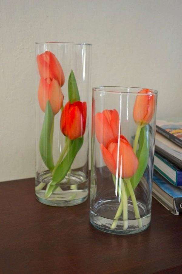 Tolle Gestaltung mit Tulpen Frühlingsdeko im Glas