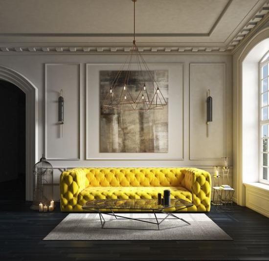Wohnzimmer optisch erweitern elegante Raumgestaltung viel natürliches Licht ausgefallenes Sofa in Goldgelb als Eyecatcher